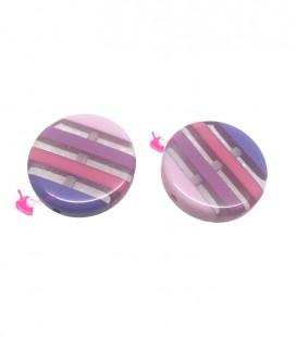 Perla Tonda Piatta Resina 20x5 mm Trasparente Righe Rosa Lilla