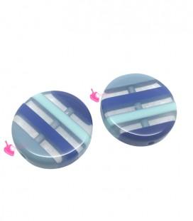 Perla Tonda Piatta Resina 20x5 mm Trasparente Righe Blu