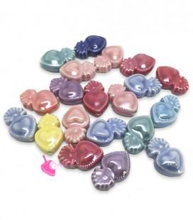 Perle Cuore Sacro 16x10 mm Ceramica Vari Colori (10 pezzi)