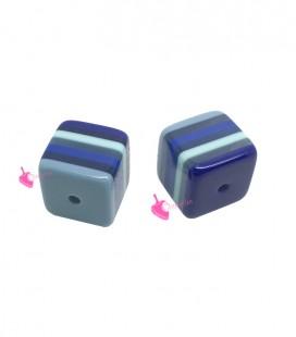 Perla Cubo 12 mm Trasparente Righe Blu