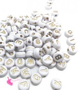 Perle Lettera Alfabeto 7 mm Acrilico Bianco e Oro (750 pezzi)