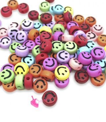 Perle Tonde Piatte Colorate Smile mm (foro 1,3mm) Acrilico (100 pezzi)
