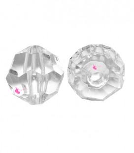 Perla Tonda Sfaccettata Resina 21x21 mm Trasparente