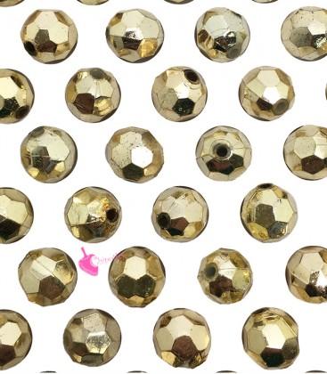 Perle Sfaccettate 8 mm Resina Metallizzata Oro (50 pezzi)
