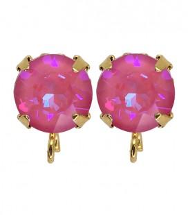 Base Orecchini a Perno con Chaton Swarovski Crystal Lotus Pink Delite SS39 8 mm