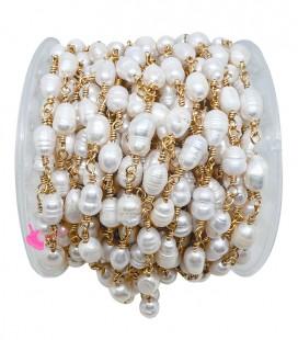 Catena Rosario con Perle di Fiume colore Oro (50 cm)