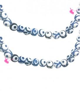 Filo Perle Agata Tibetana 8 mm Cerchio Blu
