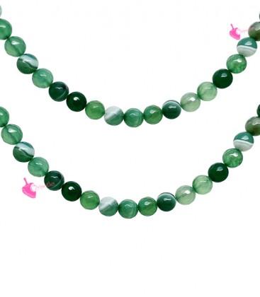 Filo Perle Agata Striata Sfaccettata 8 mm Verde