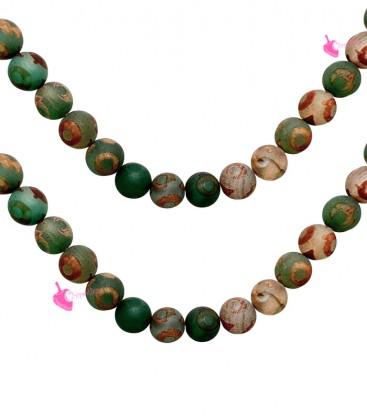 Filo Agata Tibetana 8 mm Cerchio Verde Satinato
