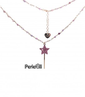 Collana Bacchetta Magica Grande Rosa Glitter Argento 925 Rosé