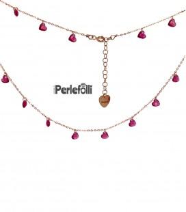 Collana Cuori di Zirconi Ruby Argento 925 Rosé