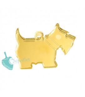 Ciondolo Cagnolino 21x28 mm Plexiglass Specchiato color Oro