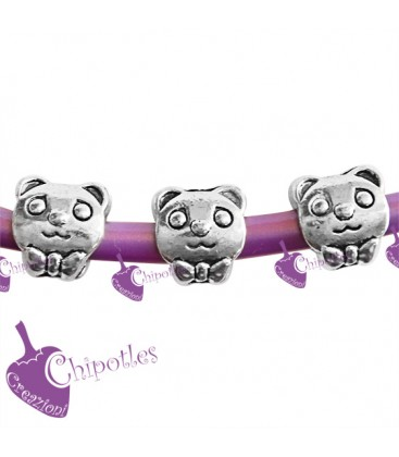 Perle Foro Largo Panda color Argento Antico