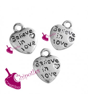 "Ciondolo Cuore ""Believe in Love"" 12x10 mm"