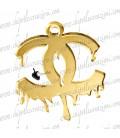 Ciondolo Logo Colato 54x46 mm Plexiglass Specchiato color Oro