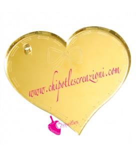 Ciondolo Cuore con Fiocco 39x34 mm Plexiglass specchiato color Oro