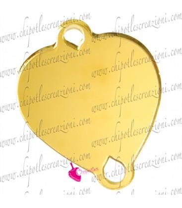 Ciondolo Connettore Cuore 30x37 mm Plexiglass Specchiato color Oro