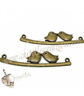 Ciondolo Connettore Uccellini 53x13 mm Bronzo Antico