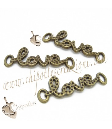 Ciondolo Connettore Love 41x14 mm Bronzo Antico
