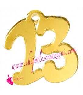 Ciondolo 13 Numero Tredici 32x28 mm Plexiglass Specchiato color Oro