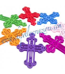 Ciondolo Croce Colorata Legno 51x35 mm (5 pezzi)
