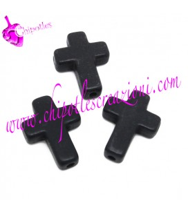 Perla Croce 16x12 mm Turchese Sintetico colore Nero