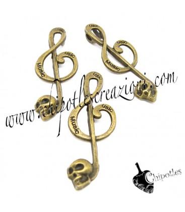 Ciondolo Chiave di Violino con Teschio 41x15 mm colore Bronzo Antico