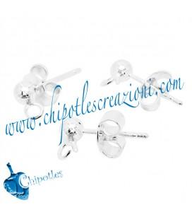 Perni per orecchini a Pallina 4 mm con Farfallina Argento 925 (1 paio)