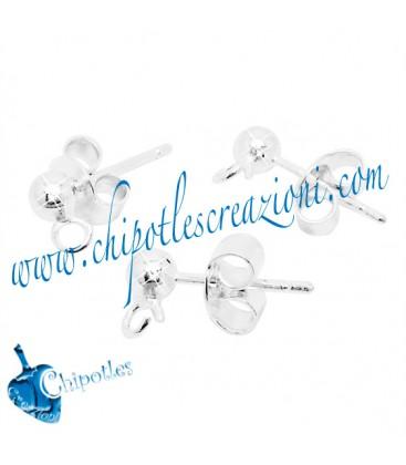 Perni per orecchini a Pallina 4 mm con Farfallina Argento 925