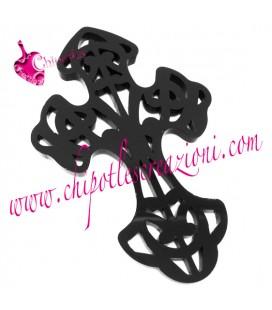 Ciondolo Croce Intagliata Filigrana 73x47 mm Plexiglass colore Nero