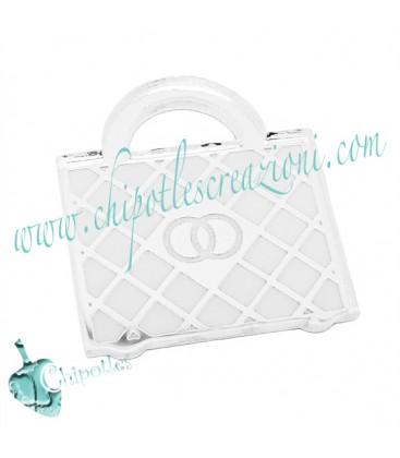 Ciondolo Borsetta con Logo Argento 23x20 mm Plexiglass Specchiato color Argento