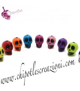 Perle Miste Teschio Messicano 13x10 mm Acrilico (10 pezzi)