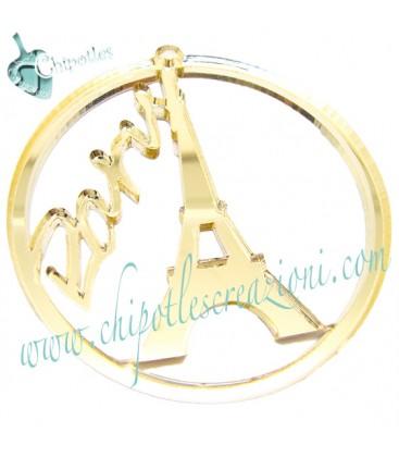 Ciondolo Paris Torre Eiffel 62x59 mm plexiglass specchiato color Oro