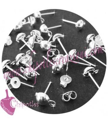 Perni per Orecchino Mezza Pallina con Retro in Silicone colore argento (100 pezzi)