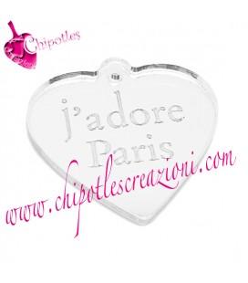 Ciondolo Cuore j'adore Paris 20x21 mm Plexiglass Specchiato vari colori