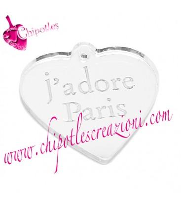Ciondolo Cuore j'adore Paris 20x21 mm Plexiglass Specchiato color Argento
