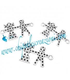 Ciondolo Connettore Bimbo e Bimba 32x18 mm colore Argento Antico