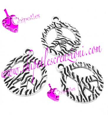 Ciondolo Simbolo della Pace Zebrato 22x18 mm colore Argento Antico