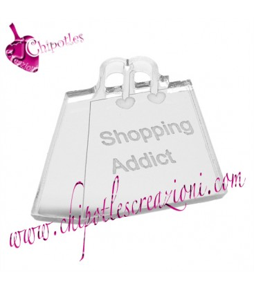 Ciondolo Borsa Shopping Addict 30x30 mm Plexiglass Specchiato color Argento