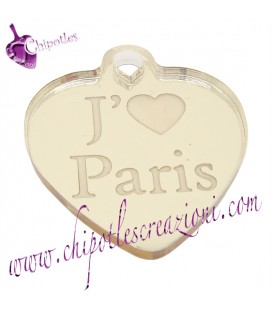 Ciondolo Cuore J'aime Paris 35x30 mm Plexiglass Specchiato color Oro