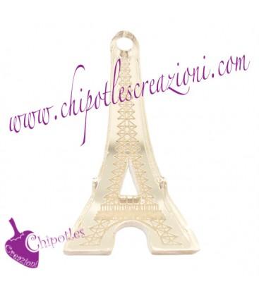 Ciondolo Paris Torre Eiffel 37x20 mm plexiglass specchiato color Oro