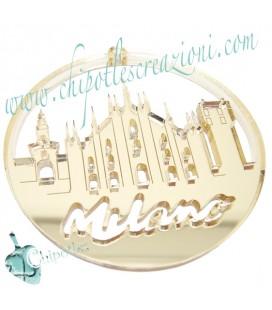 Ciondolo Duomo di Milano 62x59 mm Plexiglass Specchiato color Oro