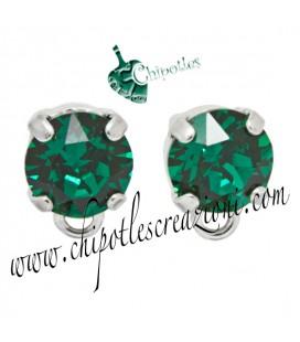 Base Orecchini a Perno con Chaton Emerald (Verde Smeraldo) SS39