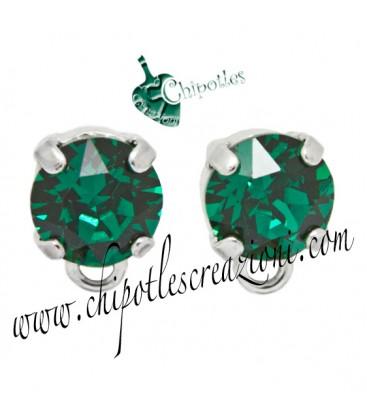 Base Orecchini a Perno con Swarovski Emerald (Verde Smeraldo) SS39