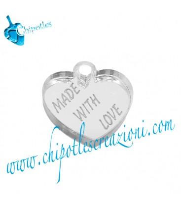 """Ciondolo """"Made with Love"""" 15x15 mm, Plexiglass Specchiato color Argento"""