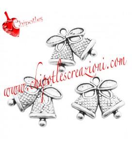 Ciondolo Campane di Natale 14x17 mm color Argento Antico