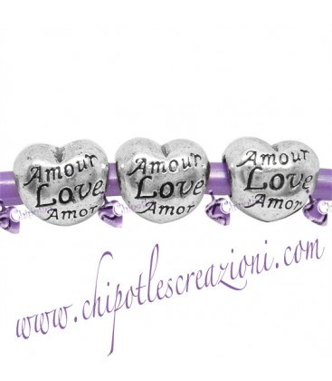 Perle Foro Largo Cuore Amour Love Amor 12x10 mm