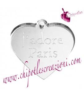 Ciondolo Cuore j'adore Paris 31x30 mm Plexiglass Specchiato Argento