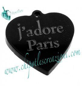 Ciondolo Cuore j'adore Paris 31x30 mm Plexiglass vari colori
