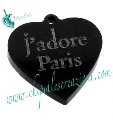 Ciondolo Cuore j'adore Paris 31x30 mm Plexiglass Nero